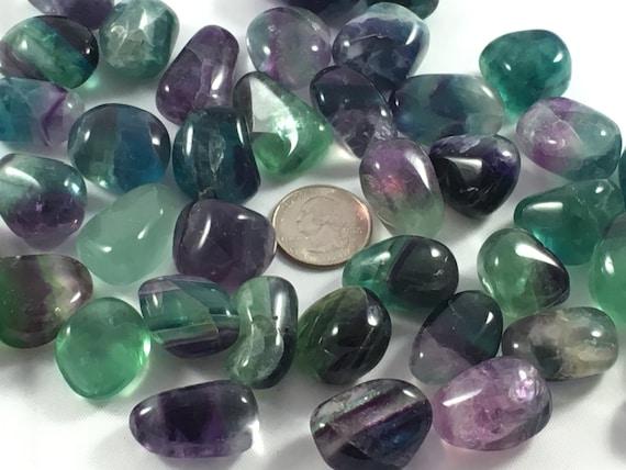 Beautiful Tumbled FLUORITE Healing Gemstone// Rainbow Fluorite// Tumbled Stones// Healing Crystals// Healing Tools// Stone of Mental Clarity