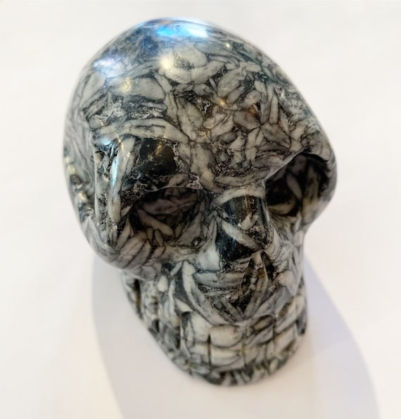 PINOLITH Skull/ Carved Skull/ Healing Gemstones/ Home Decor/ Healing Tools/ Crystal Skull/ Pinolith// Large Crystal Skull// Grounding Stone