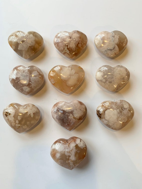 Beautiful Carved Flower AGATE Hearts Healing Gemstone// EXCELLENT Quality// Tumbled Stones// Healing Crystals// Love Crystals// Flower Agate