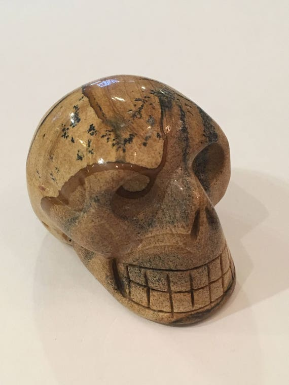 LANDSCAPE JASPER Skull// Carved Skull// Healing Gemstones// Home Decor/ Healing Tools// Crystal Skull// Jasper/ ROOT Chakra Stone// Skull