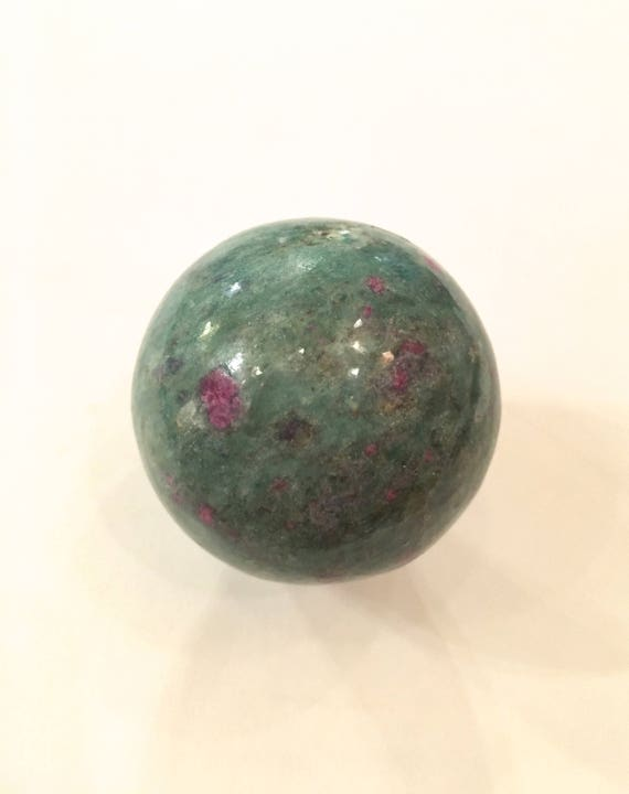 RUBY w/ FUCHSITE SPHERE// Healing Gemstone// Polished Sphere// Home Decor// Healing Tools// Ruby Sphere// Fuchsite Sphere// July Birthstone