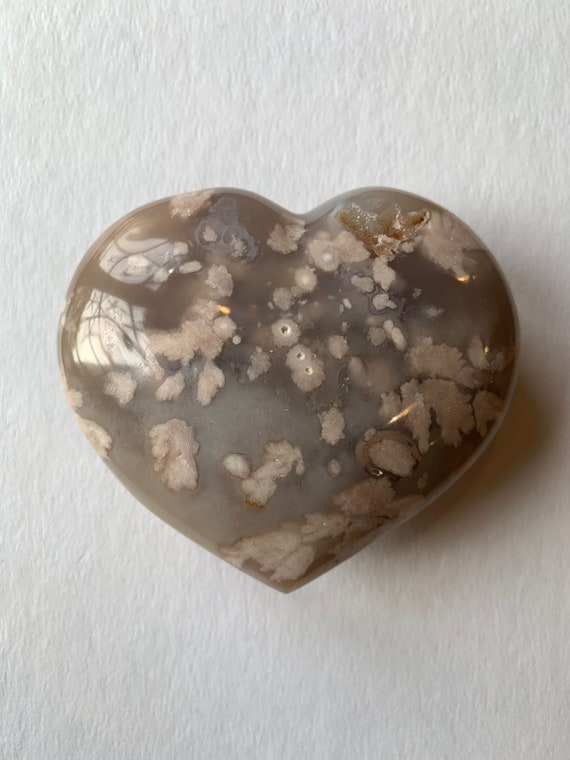 Beautiful Carved FLOWER AGATEHeart Healing Gemstone// Crystal HEART// Carved Heart Stones// Healing Crystals// Love Crystals// Agate HEART