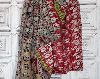 Vintage Kantha Quilt India Sari Blanket Throw Handmade Boho