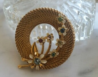 Brooch, Mid-century brooch, 1950's brooch, Mid-century jewelry, Rare brooch. vintage jewelry, vintage brooch, tiny flowers, gifts for her,