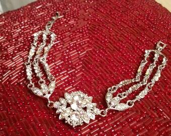 Bracelet,Rhinestone bracelet, bridal jewelry, bridal bracelet, mother of the bride, vintage bracelet, gifts for her, chain bracelet,