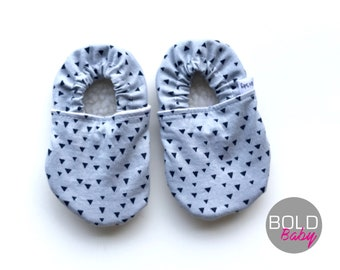 Gray Soft Sole Baby Shoes - Triangle Moccasins - Baby Shoes Unisex - Crib Shoes - Gray Triangle Baby Shoes - New Baby Gift
