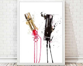 Chanel Print Chanel Lipstick Poster Watercolor Coco Chanel Lips Modern Fashion Illustration Art Prints Wall Decor Gift for Her Women A131