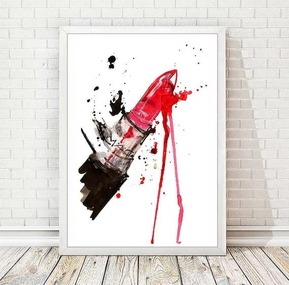 Fashion Print Lipstick Mac Poster Watercolor Chanel Poster Lips Paris Modern Red Fashion Illustration Print Abstract Art Wall Decor A146