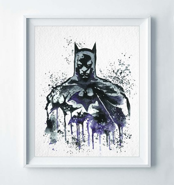 Batman Print Superhero Movie Poster Nursery Art Dark Night Watercolor Poster Illustration Kids Room Decor Boy's Wall Art Gift for Him A61