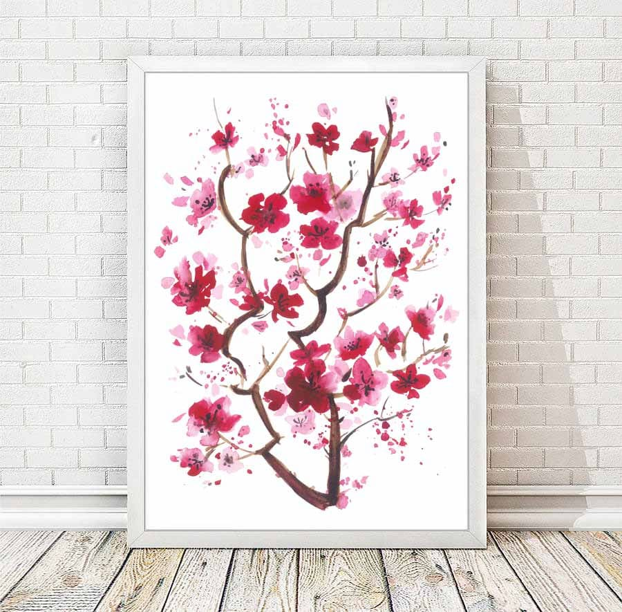 Cherry Blossom Watercolor Print Japanese Abstract Painting Etsy