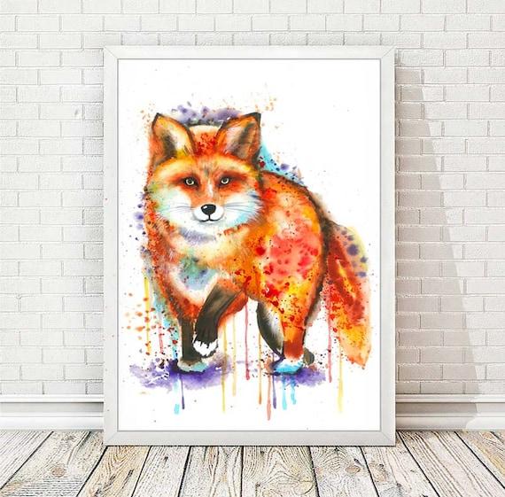 Watercolor Fox Matte Poster Print