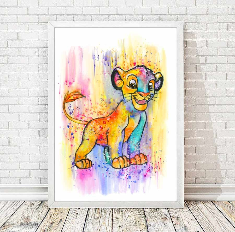 Simba Watercolor Abstract Print Disney Poster The Lion King | Etsy