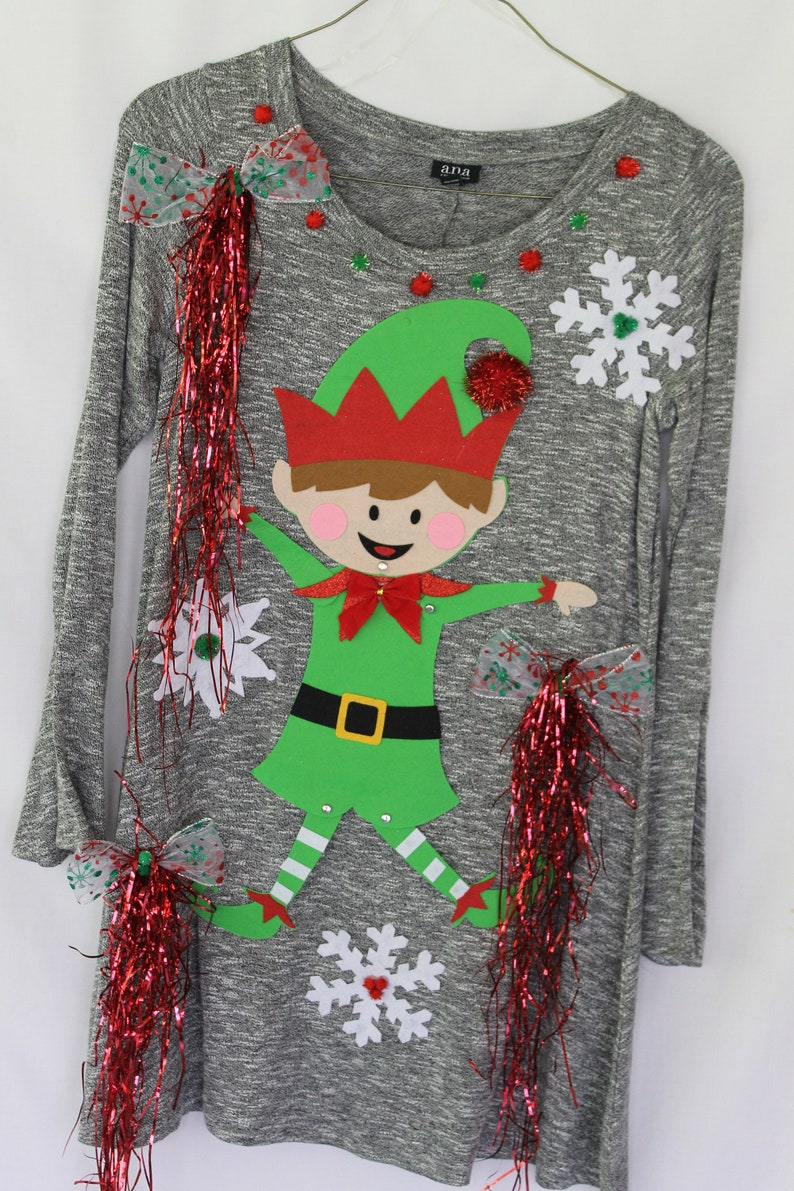 Ugly Tacky Christmas Sweater Dress   Size M  Elf NWT Womens