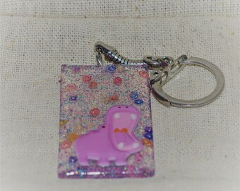 Rainbow Purple Hippo, Resin Keychain