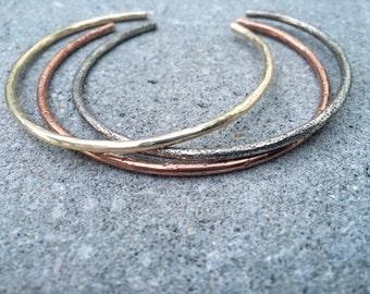Mixed Metal Cuff Trio, Cuffs Bangles Bracelets Cuffs Boho Chic Hammered Textured Jewelry Silver Gold Copper