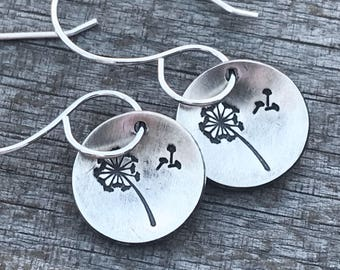 Silver Dandelion Earrings, Wish Earrings, Sterling Silver Earrings, Dangle Earrings, Hand Stamped Jewelry, Oxidized Earrings