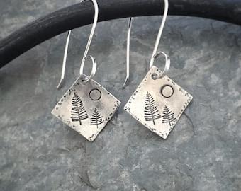 Silver Tree Earrings, Sterling Silver Earrings, Moon Earrings, Tree Earrings, Square Silver Earrings, Dangle & Drop Earrings