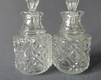 two beautiful bottle - glass with plastic plugs - nice decor