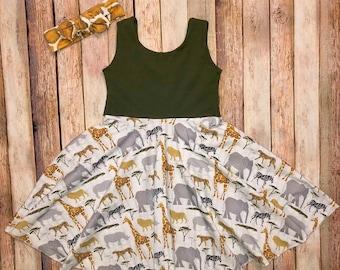 bb49104ac4 Safari zoo twirly dress and headband giraffes cheetah zebra elephant olive  gray toddler and girls circle skirt dress