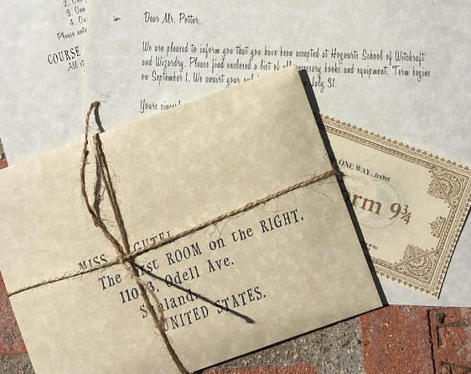 Harry Potter Personalized Wizard and Witch Acceptance letter with free travel ticket - Harry Potter Replica