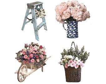 Shabby Chic Clip Art - Garden Clip Art, Garden Party Clip Art, Wedding Clip Art, Country Clip Art, Floral Clip Art, Wheelbarrow Clip Art
