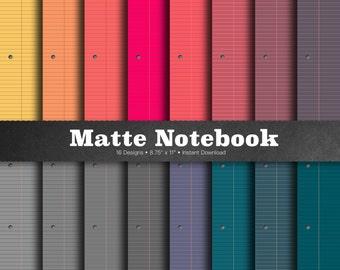 Matte Notebook Paper - Digital Notebook Paper, Matte Lined Paper, Ruled Notebook Paper, Colored Notebook Paper, Wide Ruled Paper, Journal
