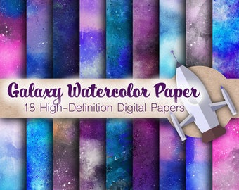 Galaxy Watercolor Paper - Paint Paper, Textured Papers, Watercolor Background, Watercolor Scrapbook, Watercolor Clip Art, Digital Papers