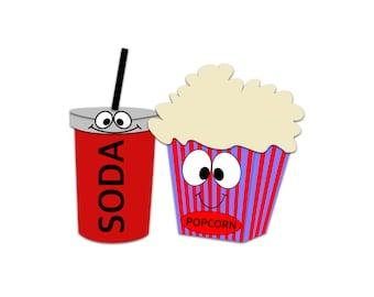 Popcorn Clipart Soda Movie Snacks Cinema
