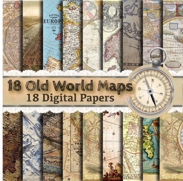 Old world map paper vintage maps vintage map paper map etsy image 0 gumiabroncs Gallery