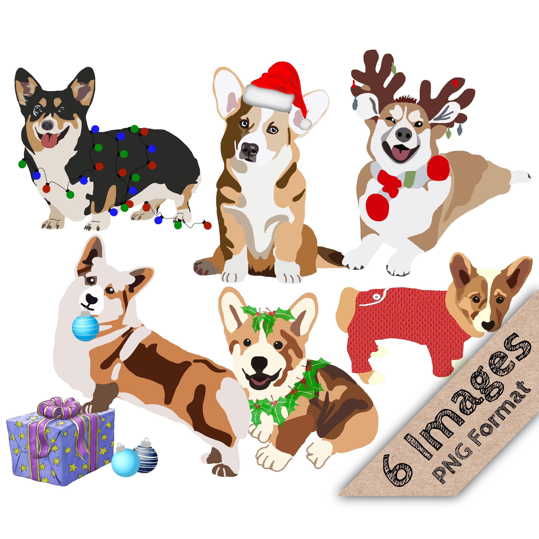 Christmas Corgis Holiday Corgi Christmas Clipart Holiday | Etsy
