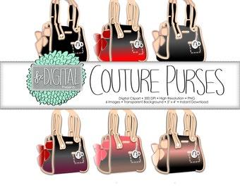 Purse Clipart - Purse Clip Art, Diaper Bag Clipart, Couture Clipart, Boutique Clipart, Bag Clipart, Accessory Clipart, Fashion Clipart