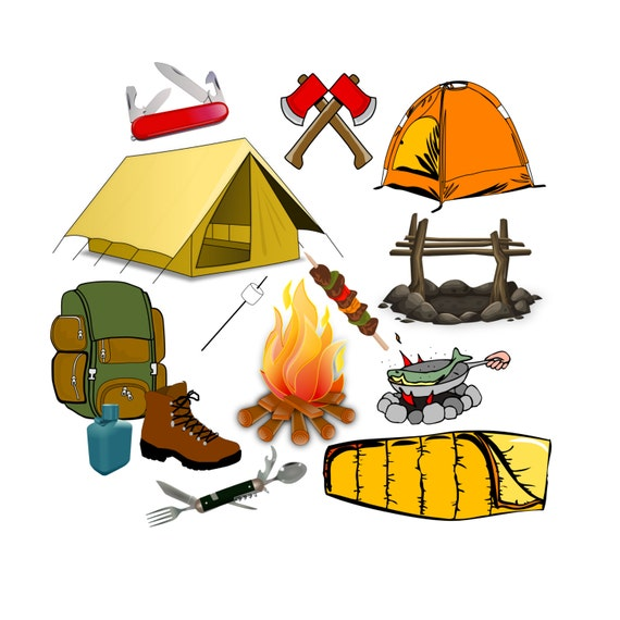 camping clip art camp clip art summer camp clip art tent etsy rh etsy com Funny Camping Clip Art Black and White Camping Clip Art