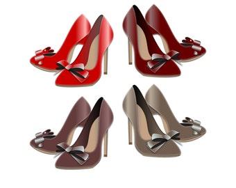 High Heel Clipart - High Heel Clip Art, Shoe Clipart, High Heel Shoes, Red High Heel Clipart, Red Shoe Clipart, Fashion Clipart, Boutique