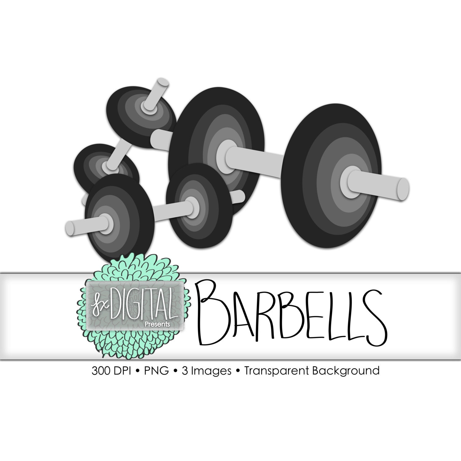 Barbell clipart barbell clip art workout clipart etsy for Barbel art