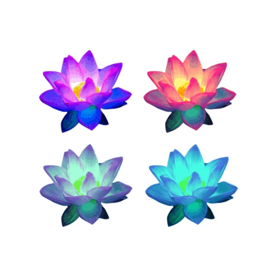 Lotus Flower Clip Art Lotus Flowers Lotus Clipart Lotus Etsy