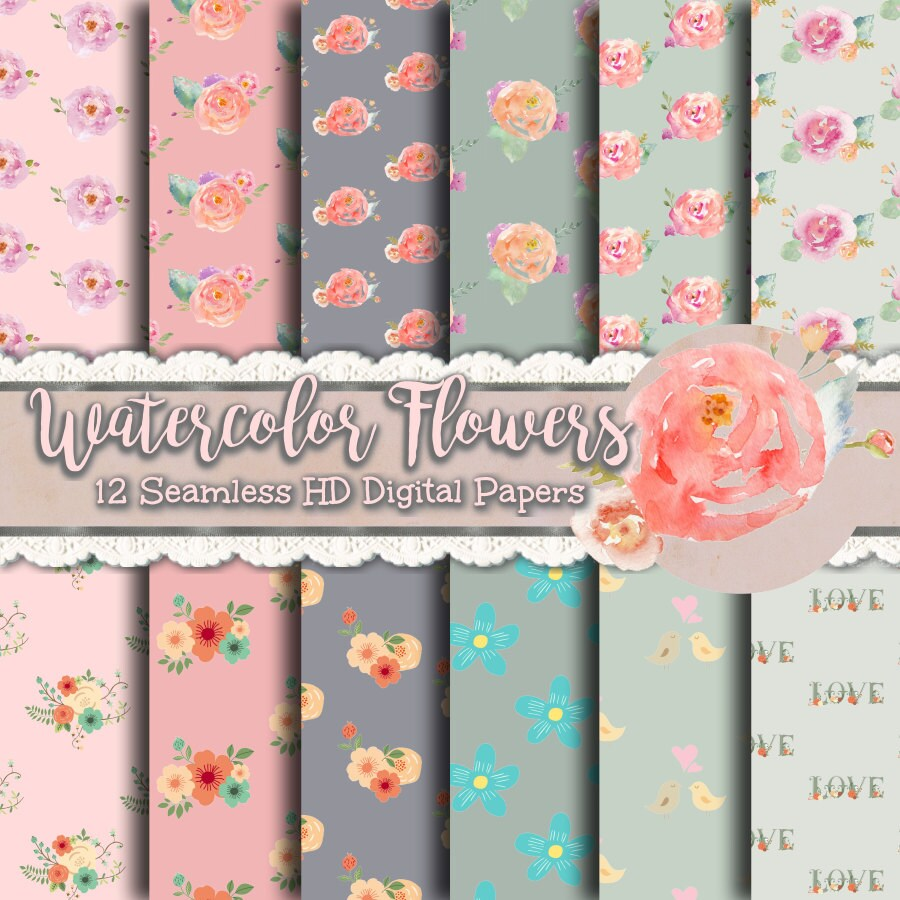 Pretty Floral Papers Watercolor Flower Paper Floral Print Etsy