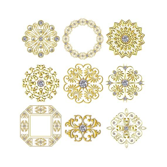 Geschmolzenes Gold Rahmen Perle Strass Rahmen 3d Rahmen Etsy