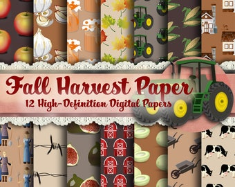 Fall Harvest Paper - Brown Paper, Printable Paper, Autumn Paper, Halloween Paper, Fall, Fall Clip Art, Fall Graphics, Thanksgiving Paper