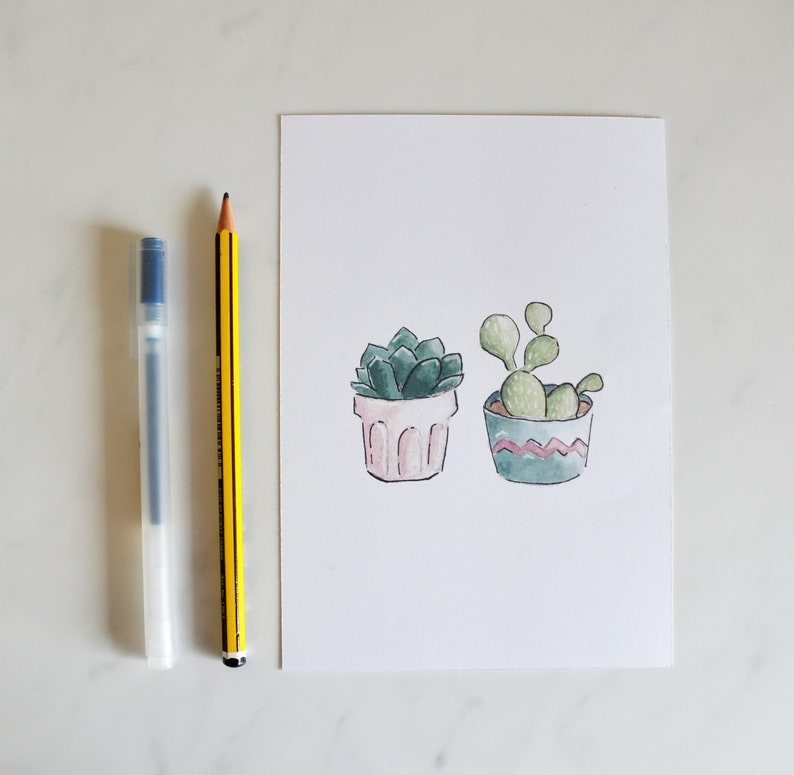 Set of 2 5 x 7 Giclee Prints Potted Succulents and Cacti Watercolor Illustration