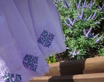 Women's Lavender Shawl/Large Shawl/Cotton Gauze Shawl/Cotton Scarf/Hand-Embroidered Scarf