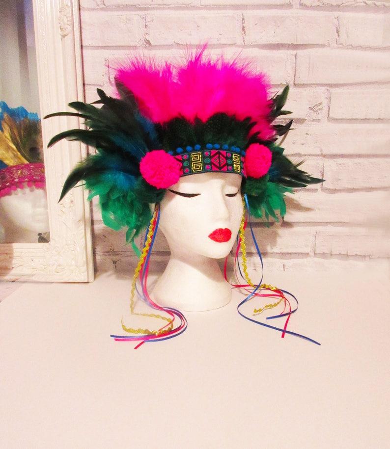 feather headdress, tribal headdress, festival headdress, carnival  headddress by Neon Panda