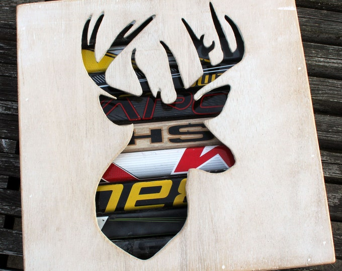 Featured listing image: Canadian Deer Head Reclaimed Hockey Stick Shadow Box
