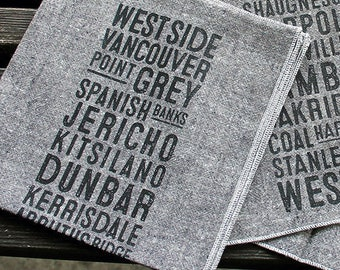 West Side Vancouver Bus Scroll Serviettes