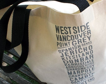 West Side Vancouver Bus Scroll Shopping Bag