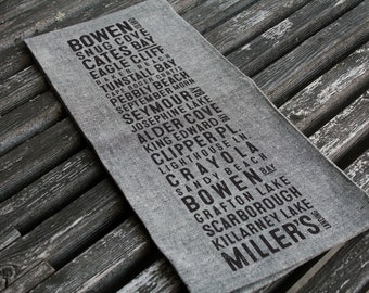 Bowen Island Beaches Bus Scroll Tea Towel