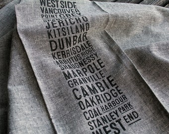 West Side Bus Scroll Tea Towel