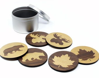 Maple Walnut True North Coasters