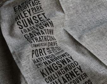 East Van Bus Scroll Tea Towel