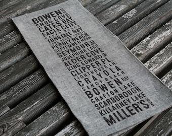 Bowen Island Beaches Bus Scroll Tea Towel