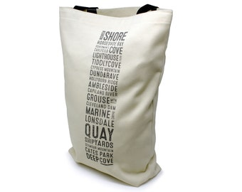 North Shore Vancouver Bus Scroll Shopping Bag